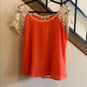 Coral & Ivory Lace Blouse from Francesca's